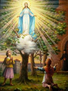 """Our Lady of Gietrzwald appeared in 1877 for the first time to Justyna Szafrynska (13) and Barbara Samulowska (12) who also saw the Bright Lady sitting on the throne with Infant Christ among Angels over the maple tree in front of the church while reciting the rosary. The girls asked """"Who are you?"""" she answered, """"I am the Blessed Virgin Mary of the Immaculate Conception"""". """"What do you require, Mother of God?"""" they asked and she said """"I wish you recite the rosary everyday""""."""