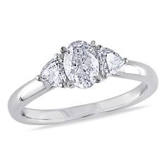 7/8 CT. T.W. Oval and Heart-Shaped Diamond Three Stone Ring in 14K White Gold
