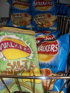 Stitched and painted fabric crisp packet