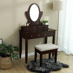 SEM212 Masă de toaletă cu oglindă și taburet - https://www.emobili.ro/cumpara/sem212-set-masa-maro-toaleta-cosmetica-machiaj-oglinda-masuta-vanity-1184 #masadetoaleta #eMobili