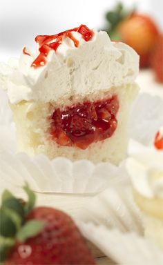 Strawberry Filled Cupcakes - yes please I want these for Mother's Day! #MarzettiRecipes #Spon