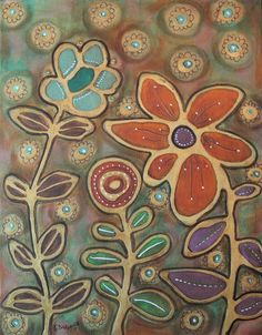Golden Blooms 11x14 inch Texture CANVAS PAINTING Abstract Folk Art Karla Gerard, new painting for sale now, place your bid... #FolkArtAbstractPrimitive