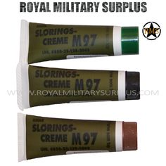 Face Paint - Slorings Creme M97 (Germany Army) - 3 Colors/Tubes - 28,95$ (CAD) - BLACK, BROWN & GREEN - M97 Slorings Creme Set Flecktarn Colors/Tones Face Paint Germany/NATO Forces Issue Bundeswehr Military Specifications 3 Tubes Set (Black/Brown/Green) Ideal for Face, Neck, Hands & Other Versatile & Long Lasting 30ml Tube Format BRAND NEW. Visit our Website at www.royalmilitarysurplus.com