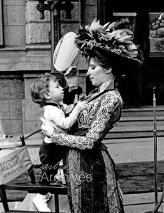 """Barbra Streisand on set in """"Hello Dolly"""" with her son, Jason Gould"""