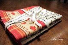 Noting Grace: Handmade recipe Tea Towels with family recipes