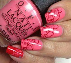 Pink Floral Nails ❤