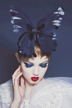 Lindsy Wixson in Jean Paul Gaultire Spring 2014 Couture butterfly head-piece.