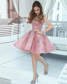 Peach 2019 Homecoming Dresses A-line V-neck Beaded Sequins Elegant Short Cocktail Dresses Formal Dresses For Men, Short Long Dresses, Formal Dress Shops, Prom Dresses With Sleeves, Dresses For Teens, Maroon Homecoming Dress, Blush Rosa, Hijab Look, Short Cocktail Dress