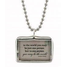 Inspirational Jewelry: One Person Vintage Postcard Reversible Pendant Necklace