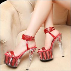 58.03$ Watch here - http://ali0an.worldwells.pw/go.php?t=32778073249 - Nightclub Sexy 7 CM Bling Platform Shoes Woman Square Toe Women Pumps Summer Big Size Women's Sandals 17 CM Crystal High Heels 58.03$