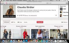 Dit is een screenshot van het pinterest van Claudia Sträter. Hierop vind je de verschillende kledingtrends,stijlen, de vorige collecties vanaf 1970 en de nieuwste collecties.