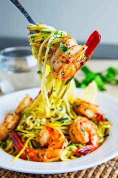 Shrimp Scampi with Zucchini Noodles. Use your favorite dairy-free ingredient for butter.