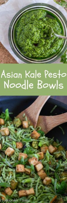 Classic pesto gets an Asian twist in these tasty noodle bowls. Asian kale pesto noodle bowls are quick, healthy, and versatile – perfect for a weeknight meal!