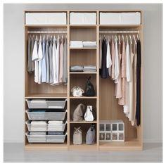 IKEA - PAX Wardrobe white stained oak effect Ikea Pax Wardrobe, Wardrobe Design Bedroom, Wardrobe Storage, Walk In Wardrobe, Bedroom Wardrobe, Bedroom Storage, Wardrobe Organisation, Wardrobe Ideas, Bedroom Sets