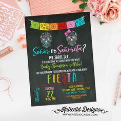 gender reveal fiesta invitation gender neutral Mexican sugar skull senor senorita baby shower sprinkle Papel Picado cinco de mayo item 1460