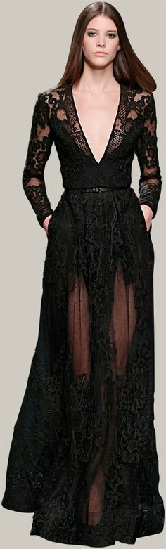 Lust Lace ! Black Lace Dress Designer Fashion Trends ELIE SAAB - Ready-to-Wear - Fall Winter 2014-2015 LBD