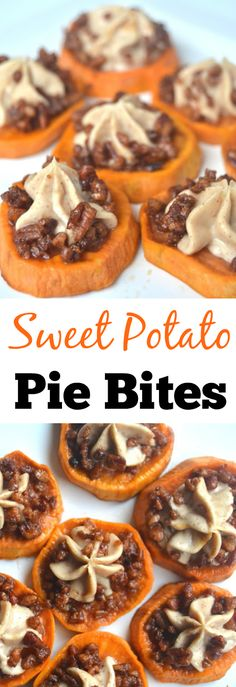 Sweet Potato Pie Bites- Roasted maple sweet potatoes with cinnamon cream cheese and maple pecans make this dish mouth-watering!