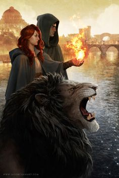 Here's a cool picture of Kai, Aspen, and the lion. It looks like she's showing Kai how she controls fire.
