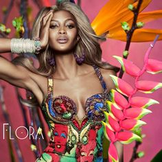 flora inspiration for isharya indian summer featuring naomi Campbell with stacked bangles
