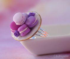 French macaron ring purple by Chikipita on Etsy, $15.00