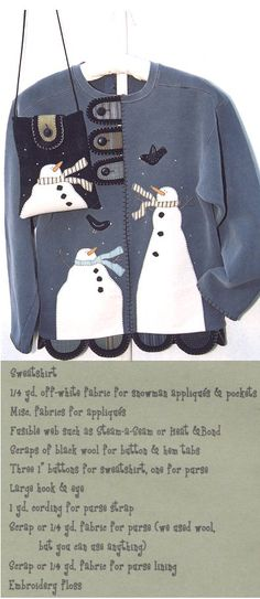 Image detail for -211 a wintery day pattern sweatshirt jacket with applique snowman ...
