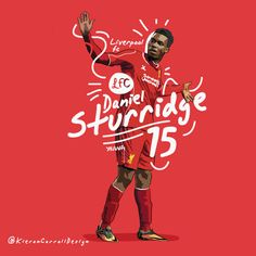 Daniel Sturridge illustration, seen here in the middle of his famous dance celebration. After Luis Suarez leaving for Barcelona, Sturridge has become one of the main figures at Liverpool FC, taking on the responsibilities of a senior player at such a young age.