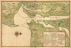 A 1639 pen-and-ink and watercolor map which shows Manhattan Island as it appeared some 25 years after the establishment of the Dutch fur trading settlement known as New Amsterdam (present-day New York City).