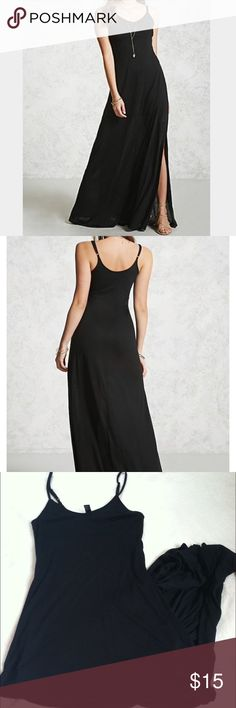 NWT Forever 21 maxi dress Small •New with tag •One slot at the bottom of the dress •Adjustable straps •Jersey material •Color: Black •Brand: Forever 21 •Size: Small •NO TRADES Forever 21 Dresses Maxi