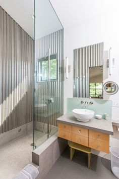 concrete bathroom with corrugate iron - nice look for shipping container home!