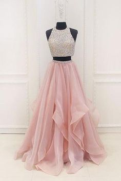 Pink chiffon tiered two pieces sequins A-line beaded long evening dresses,graduation dresses