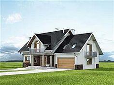 Elewacja prawa projektu Heliodor - murowana – beton komórkowy Modern Bungalow House, Cute House, Dream House Exterior, Design Case, Home Fashion, House Plans, Shed, Villa, 1