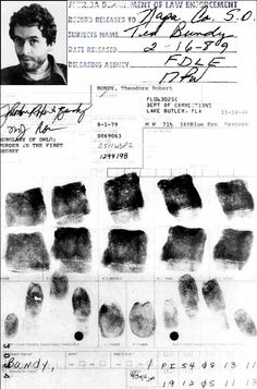 Ted Bundy's fingerprint card from Florida dept. of corrections.