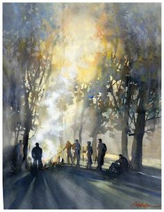 """""""Family summit - Ohio"""" by Thomas W. Schaller - watercolor  24x18 inches  You can almost hear the fire crackling and the hushed murmur of voices."""