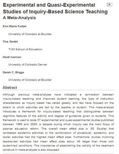 A meta-analysis on inquiry-based teaching focusing on student direction and teacher guidence