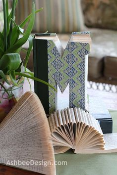 Turn a hardcover book into your initials.