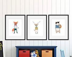 Hipster Woodland Animal Printables Nursery décor par HappyFoxDesign