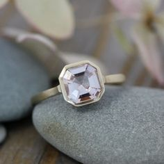 Morganite Gemstone Ring, Asscher Cut Morganite in 14k yellow Gold, Engagement  Ring or Right Hand Ring, Made To Order. $1,148.00, via Etsy.