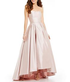 Betsy & Adam Strapless Sweetheart Hi-Low Ball Gown