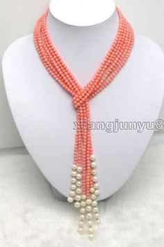 SALE 47 inch (120CM) 3 Strands 4.5mm Pink Coral And White Pearl Necklace -ne9207 | eBay