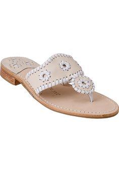 b0a61950945f7 Jack Rogers Palm Beach Thong Sandal White Bone Leather - Jildor Shoes