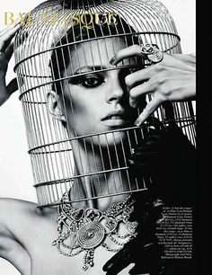 Bird cage ; French Vogue editorial, October 2010. Photographed by Sharif Hamza.