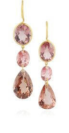 Pretty!  Marie-Hélène de Taillac 18-karat matte-gold, tourmaline and rubelite earrings