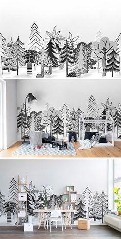 papier peint enfant style scandinave, forêt avec arbres à silhouettes noires sur un fond blanc, lit cabane en bois, bureau bois scandinave