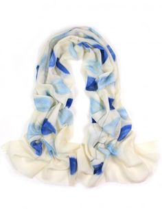 Dahlia Women's 100% Merino Wool Pashmina Scarf - Hand Painted Blue Foliage