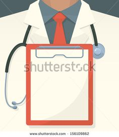 Medical background with record board and stethoscope. Vector illustration. by Laralova, via ShutterStock