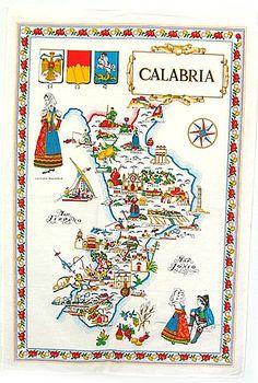 Italian Linen Calabria Souvenir Kitchen Tea Towels!