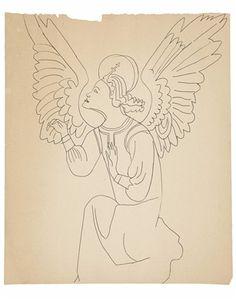 ANDY WARHOL (1928-1987)  Angel  black ballpoint pen on paper  16 5/8 x 13 7/8 in. (42.2 x 35.2 cm.)  Drawn circa 1954.