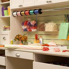 Corral wrapping paper, ribbons, bows, and other holiday gift wrapping supplies with these easy storage projects you can finish in a weekend.