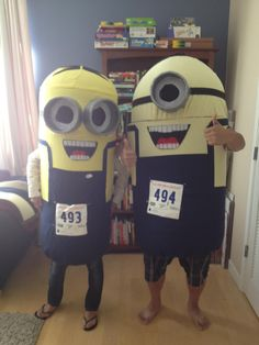 Home made minion costumes.