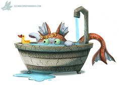 Daily Paint #1034. Poseidon Cat by Cryptid-Creations  Time-lapse, high-res and WIP sketches of my art available on Patreon (: